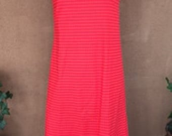 Vintage 70s - Red Summer Dress with White Stripes