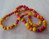 Colorful Strand of Wood Beads, Yellow, Orange, Red, Pink, Jewelry Components