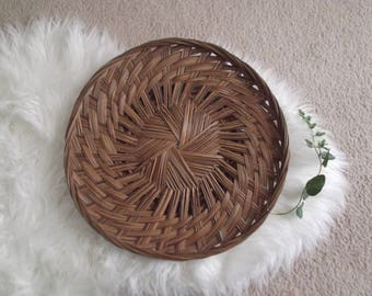 Boho Woven Wall Basket Rattan Tray Bohemian Modern Boho Chic Wall Decor Hippie Decor