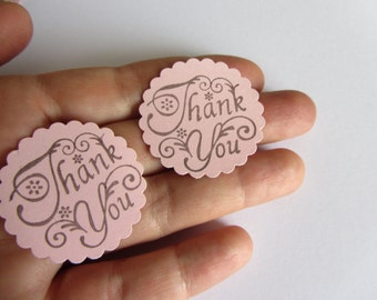 Pink Thank you tags Pink Favor tags Scalloped circle tags Wedding tags Wedding favors Gift tags Pink Baby shower girl