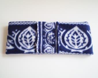 Fleece Blue White Ear Warmer, Fleece Blue White Headband, Fleece Blue Scandinavian Ear Warmer, Fleece Blue Scandinavian Headband