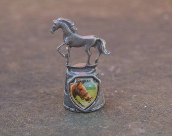 Vintage collectible Kentucky Bluegrass State Pewter Sculptured Horse Thimble Travel Souvenir ~ Horse Picture in Shield & Horse Sculpture