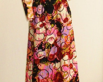 "1970's Quilted and Sequin Floral Maxi Dress 27"" Waist"