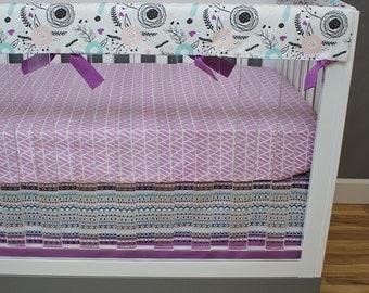 Tribal Girl Crib Bedding, Bumperless Nursery Baby Bedding, Pink, Purple, Aqua, Aztec, Tribal, Floral, Woodland Baby Girl Nursery Bedding