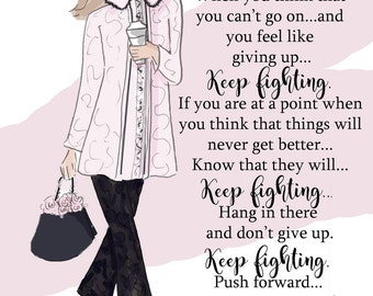 Wall Art for Women - Keep Fighting Hang in There - Wall Art Print -  Digital Art Print -  Wall Art -- Print
