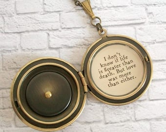 Tristan and Isolde Quote Locket Necklace Pink Rose Vintage Photo Pendant Remembrance Jewelry Love Was More Than Either