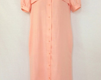 Pink 80s Linen Dress / Vintage Summer Midi Dress / Button Up Gown Short Sleeves Shoulder Detail Unique Oval Buttons Spring Classic Style LG