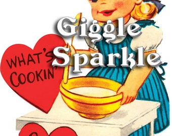 Baking Girl Valentines – Vintage Digital Download – Kitschy Cute Clipart –  2 Instant Download Printable Images – Valentines Day