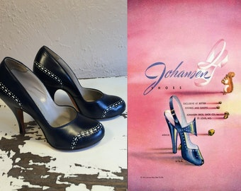 Her Wing Commander - Vintage 1940s WW2 Navy Leather & White Punch Detail Heels Pumps - 5.5/6