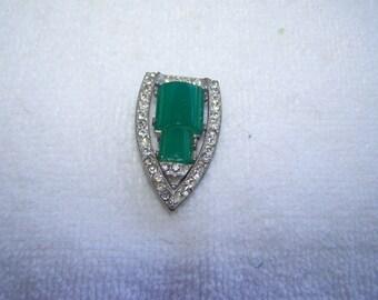 Silver HEIL Pot Metal Green Rhinestone Fur Dress Clip