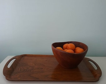 Teak Wood Mod Decorative Tray Large Lathed Catchall Vanity Tray, Serving Tray, Coffee Table Tray, Bar Tray