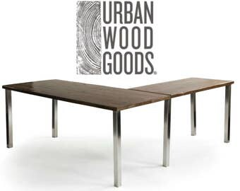 Urban Wood Goods L Desk, antique finish shown in 1st pic-your choice of size, base style, wood thickness/finish. Custom orders ship 4-5 wks.