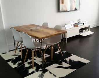 """Loft reclaimed wood table with hairpin legs for kitchen or dining area. 48"""" x 30"""" seats 4 (pic 1). 1.65"""" top. free shipping special"""