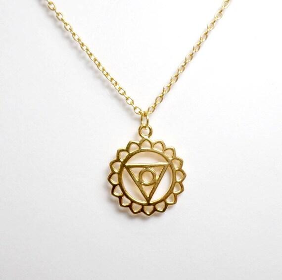 Gold Plated Throat Chakra Necklace - Chakra Charm Necklace - Throat Chakra Pendant