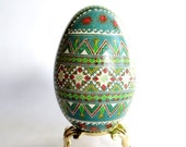 Christmas Green Goose Egg Pysanka hand painted Ukrainian Easter Egg