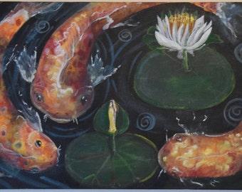 Art Painting, ORIGINAL Painting, Acrylic Painting Abstract Painting, Extra Large Wall Art, koi fish