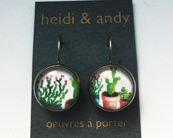 Hypoallergenic Flower Succulents Cactus Stainless Dangle Earrings , Plants , Green , French Lever Back Loop, watercolor , Jewelry , Gift