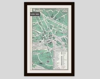 Stockholm Sweden Map, City Map, Street Map, 1950s, Green, Black and White, Retro Map Decor, City Street Grid, Historic Map, Scandinavian Map