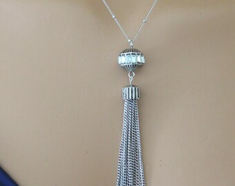 Art Deco Necklace - Silver Necklace - Tassel Necklace - Chain Tassel Necklace - Layered Necklace - Crystal Necklace - handmade jewelry