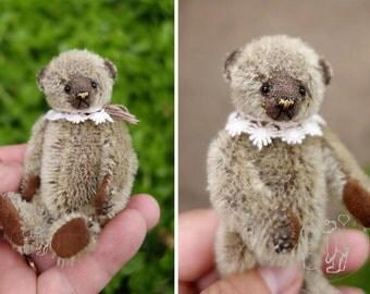 "Truffles, Miniature  Brown 3 1/2"" Artist Teddy Bear by Aerlinn Bears"