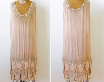 Vintage 1920s Rhinestones Beaded Silk Flapper Dress/Pastel pink color/Art Deco/Gatsby Style/Wedding dress