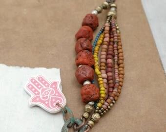 Lhasa  - Ethnic Bracelet - Vintage Naga Beads - Rustic Brass and Silver - Boho Rainbow