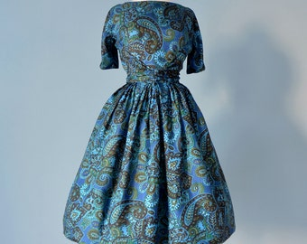 Vintage 1950s Dress...L'AIGLON Paisley Print Silk Party Dress