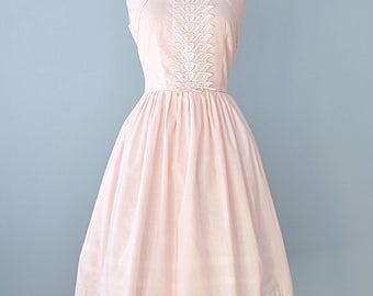 Vintage 1950s Summer Dress...BRENTWOOD Pale Pink Cotton Summer Dress Day Dress 28 Inch Waist