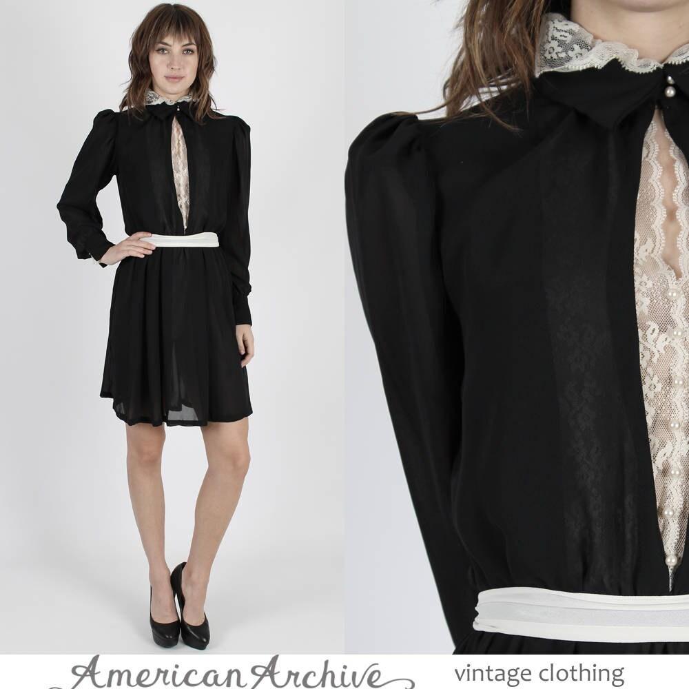 Sekretär Cocktail Kleid Minikleid 80er Jahre Kleid schwarze