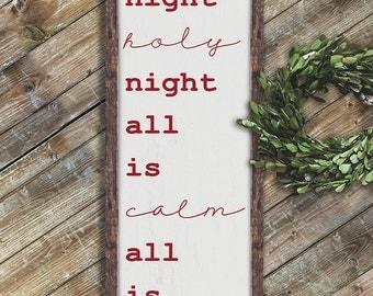 SILENT NIGHT Sign - Christmas Wall Decor - Word Art Sign  on Wood - Christmas Sign - Framed  - Wood sign