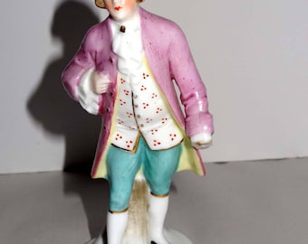 Made in Germany Victorian Man Porcelain with Gold Leaf Figurine Home and Garden Collectibles Figurines