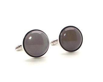 Misty Gray Cufflinks – Gray Agate Cufflinks – Gray Cufflinks