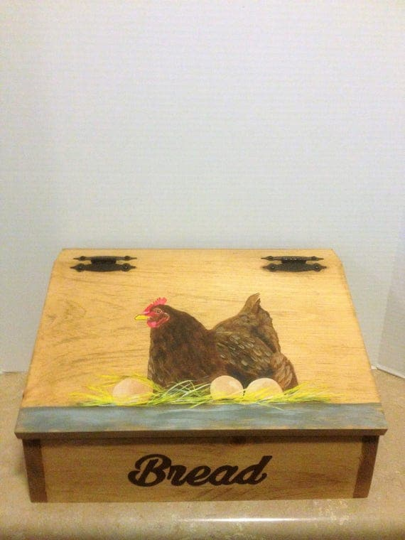Bread Box, Chicken decor, Chicken Kitchen, Country Decor, Farmhouse Decor, Country Kitchen, Farmhouse Kitchen, Bread Storage, Box for Bread