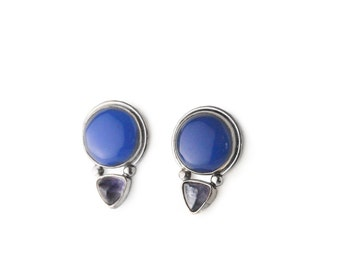 Retro Blue Onyx and Iolite Silver Silver Post Earrings