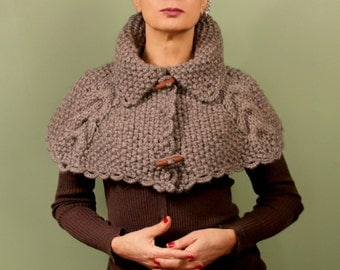Wool Cape, Chunky Cowl, Wool Poncho, Knit Cowl, Alpaca, Cape Scarf, Knit Wrap, Winter Cowl, Women Capelet, Shoulder Shawl, Winter Gift