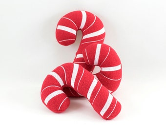 Christmas Dog Toy, Candy Cane Dog Toy, Fleece Dog Toy, Candy Cane Toy, Fleece Dog Toy With Squeaker, Embroidered Dog Toy
