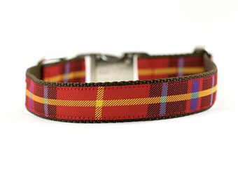 Red Plaid Dog Collar, Plaid Dog Collar, Modern Plaid Collar, Red Plaid Collar, Plaid Collar
