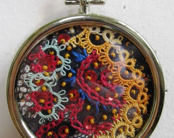 Miniature Embroidery Mixed Media Collage Hoop Crazy Quilt Beads Lace Victorian Vintage Art Black Rainbow - 2.25 Inches