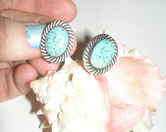 Damele Turquoise Earrings VAN DELL Signed Sterling Silver Earrings -Vintage Screw Back Earthy Tribal Style Gorgeous Fashion Statement