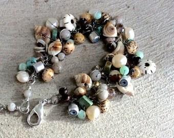 beadwork bracelet. feldspar bracelet. wire wrapped gemstones.  Chain bracelet