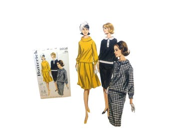 Vintage Butterick 3032, Two Piece Dress, Misses Size 14, Darted Skirt Pattern, Box Pleated Skirt, Retro Sewing Pattern, 60's Fashion
