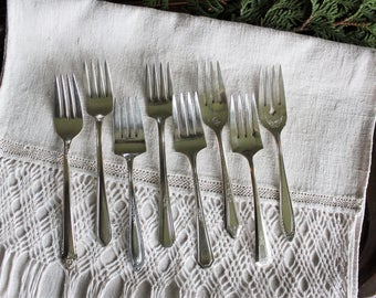 8 Antique Mixed Silverplate Luncheon Forks