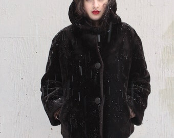 Vintage 1950s Coat // 50s 60s Dark Chocolate Brown Borg Faux Fur Jacket with Cord Buttons