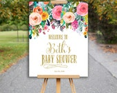 Baby Shower Sign, Welcome Sign, Welcome Baby Shower Sign, Floral Bridal Shower 0556