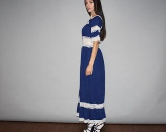Vintage 1960s Blue Crochet Lace Oaxacan Ethnic Hippie Mexican Festival Maxi Dress - Vintage Hippie Wedding Dress - W00166