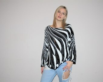 Vintage 80s Black and White Avant Garde Silk Trophy Blouse Top - Vintage Sequin Tops - Vintage Sequin Blouse - W00360