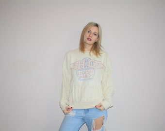 90s Vintage Harley Davidson Motorcycles Pastel Cable Knit Sweater - 1990s Biker Knit Sweaters - W00502