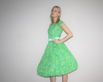 Vintage 1950s Neon Green Rose Floral  Cupcake Pinup Bombshell Party Dress  - Vintage 50s Cotton  Dress  - W00531