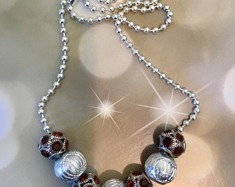 Chunky Brown Crystals/Silver Large Hole Bead Necklace