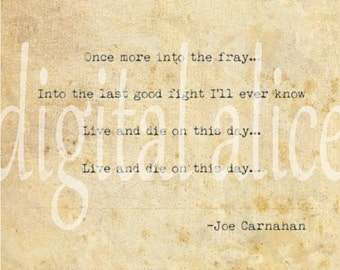 VINTAGE TYPEWRITER PRINT - Into the Fray - from the movie The Grey - inspirational movie quote